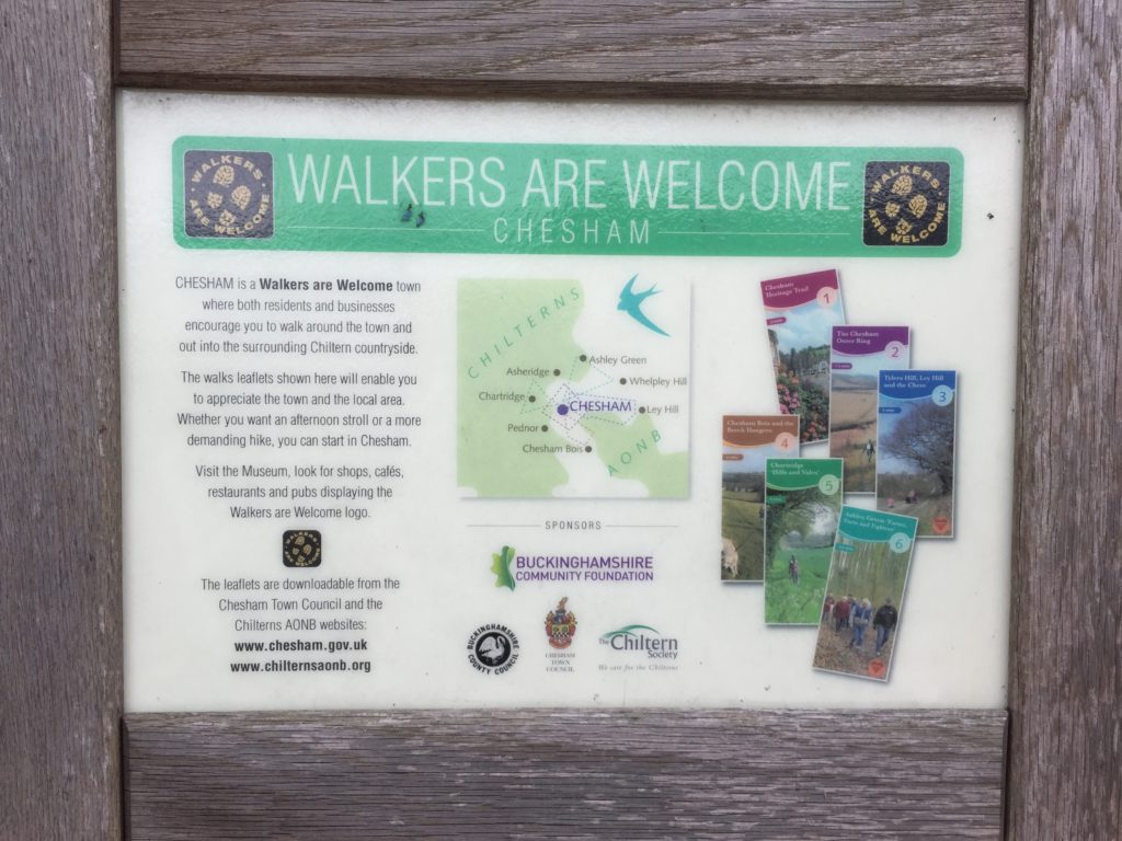 A sign which says 'walkers are welcome'. It gives information about the walks around Chesham.